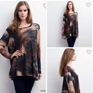 Tops - Marbled Long Sleeve Tunic Top